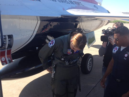 Missy Franklin flies with the Air Force Thunderbirds