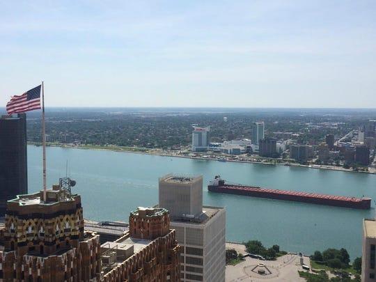 The Paul R. Tregurtha sails past Detroit on Monday,