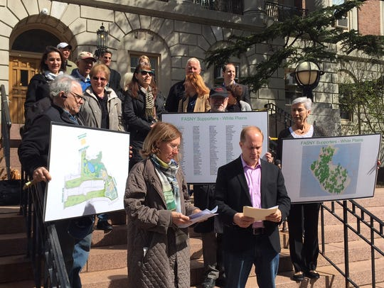 A pro-FASNY group rallies in front of City Hall in