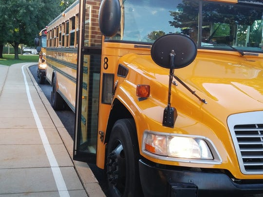 School buses line up at Cleona Elementary School.