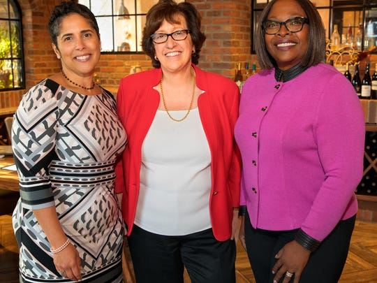 Tompkins County's three higher education Presidents Shirley Collado (Ithaca College), Martha Pollack (Cornell University), and Orinthia Montague (Tompkins Cortland Community College).