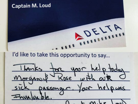 Note written by the captain to the mom-daughter duo that helped save a man's life.