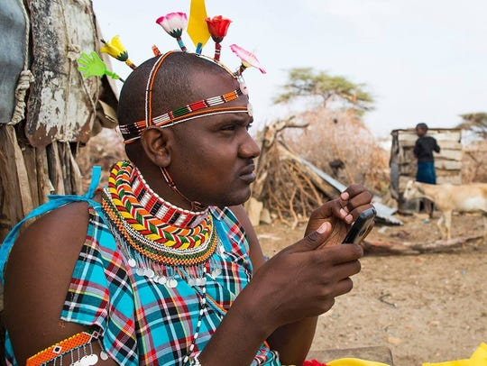 Samuel Leadismo, a Samburu warrior, is leading the