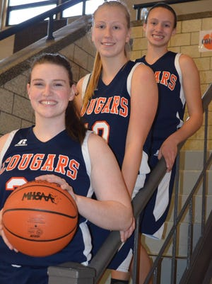 The 2017-18 Calhoun Christian girls basketball team features returning players, from left, Abby Parks, Esther Beavers and Maya Wilson.