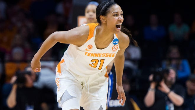 Tennessee's Jaime Nared (31) reacts to a foul called on her during the women's NCAA Tournament first round game between Tennessee and Liberty at Thompson-Boling Arena Friday, March 16, 2018. Tennessee defeated Liberty 100-60.