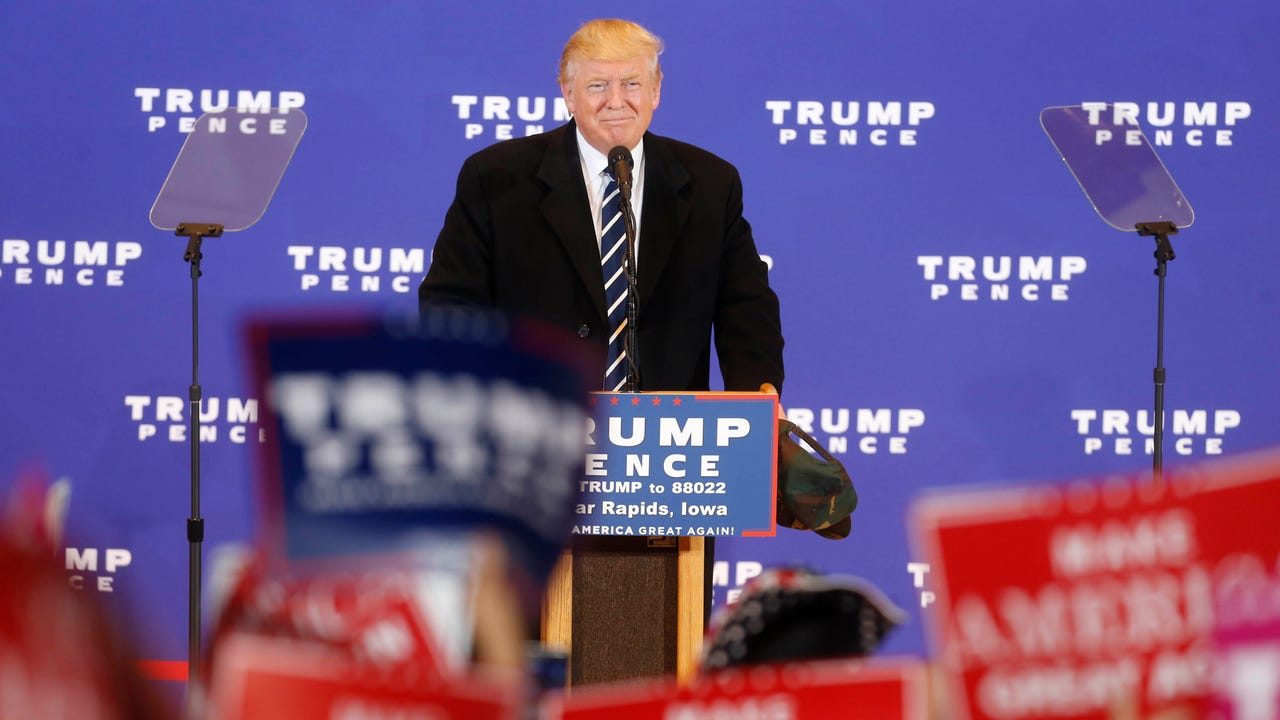See the full speech as Republican presidential candidate Donald Trump makes a campaign stop in Cedar Rapids, Iowa.