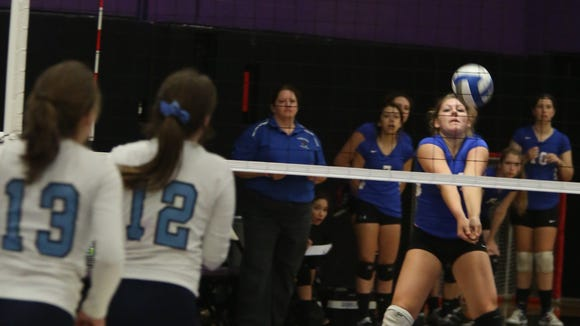 Dobbs Ferry defeats Westlake 28-26, 25-17, 25-22 during the girls volleyball Section 1 Class C championships at John Jay High School in Cross River on Oct. 31, 2014.