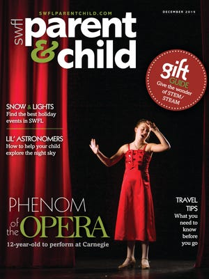 On the cover of the December issue of SWFL Parent & Child magazine is Abby Fletcher, 12, of Cape Coral. She performs this month at Carnegie Hall in New York City. The setting for this photo is the Foulds Theatre at the Lee County Alliance for the Arts in Fort Myers.