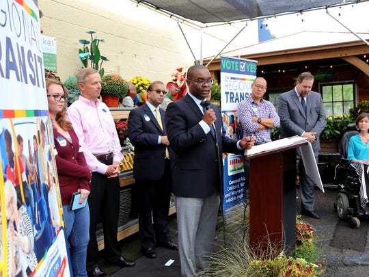Shaun Wilson, spokesperson for Citizens for Connecting our Communities,  addresses the group that attended the Regional Transit Authority millage campaign kick-off at Western Market in Ferndale on Thursday, Sept. 8, 2016.