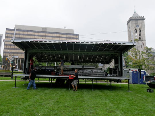 Circuit Lighting, Inc. of Green Brook set up the stage for the Morristown Jazz and Blues Festival on the Morristown Green in Morristown, NJ Friday August 18, 2017.