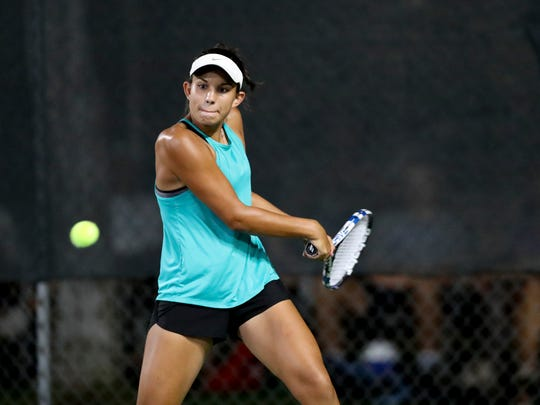 Foothill High School sophomore Isabelle Bahr returns the ball Wednesday during her doubles match at the The Ascension Project Women's $25,000 Challenger at Sun Oaks.