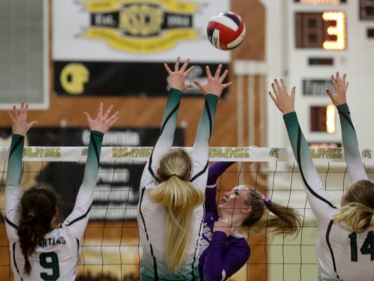 Shasta's Cate Walton (center right) goes up for a hit