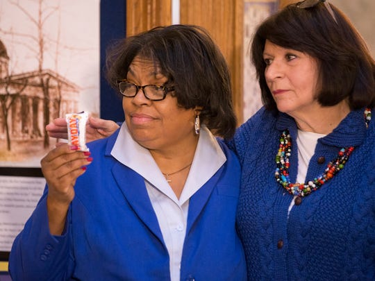 Jean Breaux (left), Indiana State Senator, and Linda Lawson, State Representative, at a meeting to discuss upcoming Indiana House and Senate bills that will seek to close the male and female wage gaps, Indanapolis, Wednesday, Jan. 17, 2018.