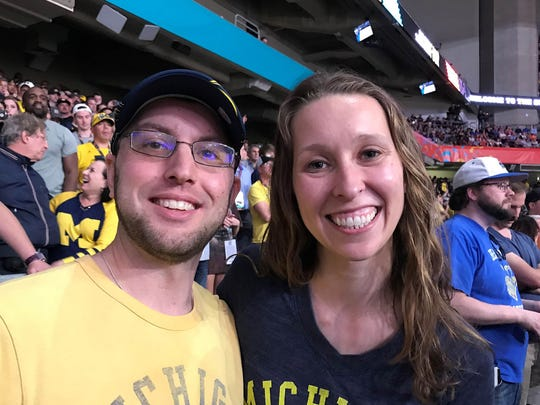 Doug and Emily Jacobs came from Boston to cheer for Michigan during the national semifinal against Loyola-Chicago on Saturday, March 31, 2018, at the Alamodome in San Antonio.