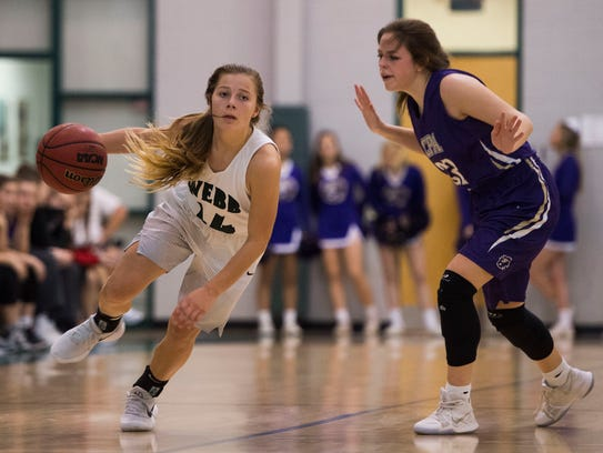 Webb's Casey Collier drives down the court during a
