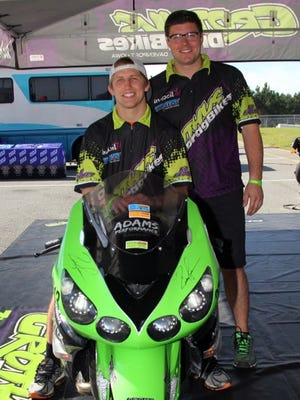 Former Iowa wrestler Brody Grothus (left) is transitioning into dragbike racing.
