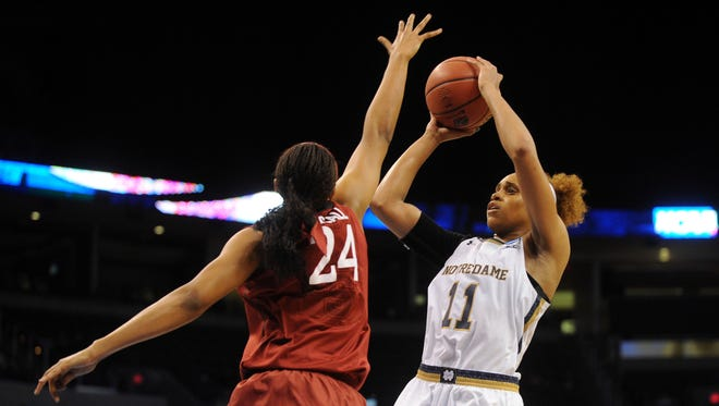 Notre Dame Fighting Irish forward Brianna Turner fires a shot against Stanford Cardinal forward Erica McCall.