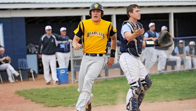 Paint Valley's Mason McCloy scores a run during the game against Adena at Adena on Monday. The game was suspended due to darkness.
