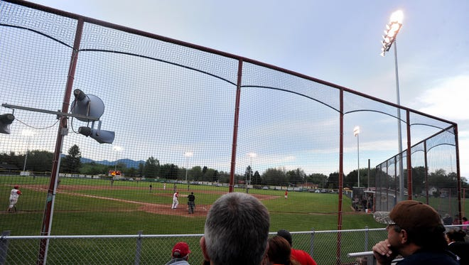 Fans enjoy Friday's Lewistown vs. Great Falls American Legion baseball game under the lights at Ryan Sparks Field.