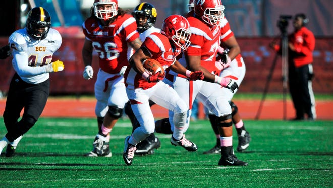 Brycen Allen rushed for 73 yards and two touchdowns in Delaware State's 49-21 loss to Bethune-Cookman on Saturday.