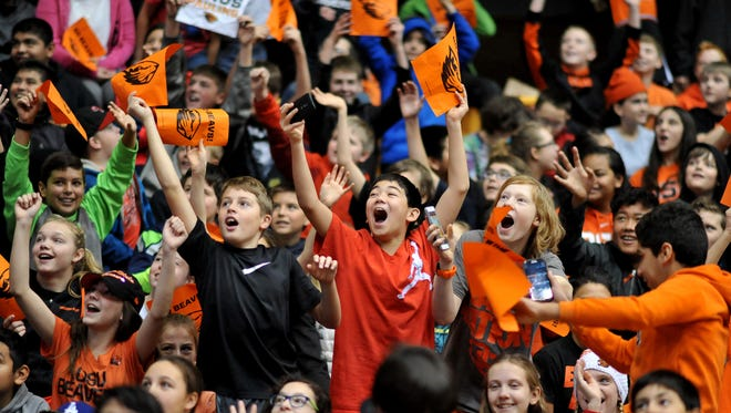 Thousands of cheery grade and middle-school students took in the Oregon State University women's basketball game vs. Cal State-Bakersfield at Gill Coliseum as part of Beavers Beyond the Classroom, Tuesday, Dec. 15.