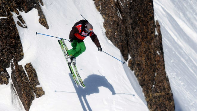 US free rider JT Holmes competes on the Brevent mountainside during the French stage of the freeride world tour on January 31, 2010, in Chamonix, eastern France.