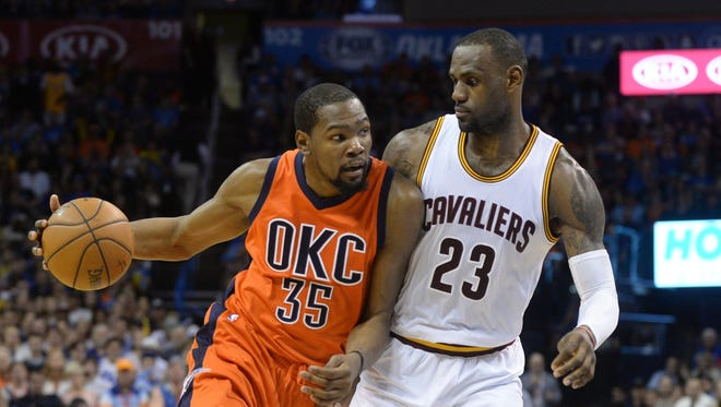 Kevin Durant (left) and LeBron  James are both free agents.
