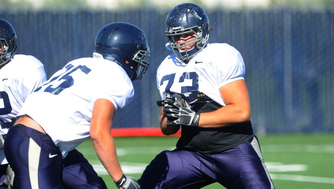 Wolf Pack senior left tackle Austin Corbett is the most veteran member of an inexperienced offensive line.