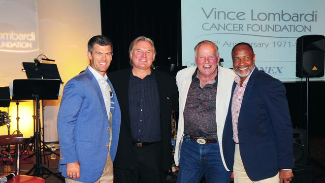 Jerry Kramer at the 2015 Vince Lombardi Cancer Foundation Golf Classic. (Left to right: Mason Crosby, Morten Anderson, Jerry Kramer and Lynn Swann)