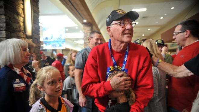 The 21st Honor Flight Nevada landed at Reno-Tahoe International Airport on Sunday, Nov. 12, 2017 after transporting 40 veterans to Washington D.C.