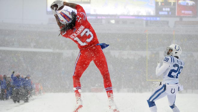 Buffalo Bills' Kelvin Benjamin catches a touchdown during the first half of an NFL football game against the Indianapolis Colts, Sunday, Dec. 10, 2017, in Orchard Park, N.Y. (AP Photo/Adrian Kraus)