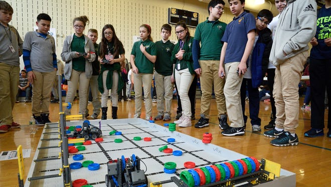 Student from Garfield Public School compete in the Vex IQ Robotics Tournament at the Carlstadt Public School on Wednesday