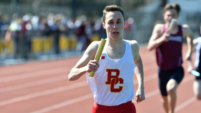 Breadon Fiume of Bergen Catholic runs anchor in the boys E sprint medley  at the 57th annual Jack Yockers Bergen County Relays at River Dell High School.