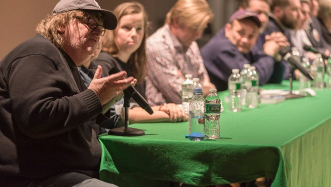 Filmmaker Michael Moore spoke Friday at a teach-in at Sarah Lawrence College to protest the school's response to a union organizing effort on campus.