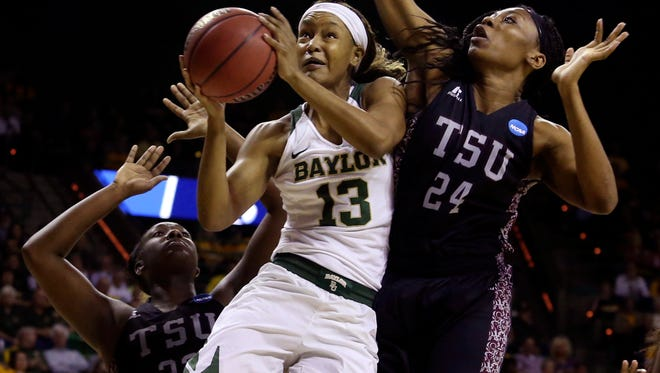 Baylor forward Nina Davis drives to the basket against Texas Southern during their NCAA tournament game.
