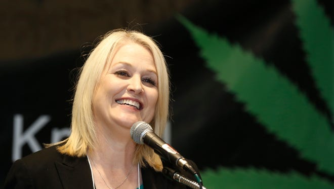 California top state pot regulator, Lori Ajax, addresses an industry group meeting in Long Beach on Thursday. California's emerging marijuana industry is being rattled by an array of unknowns as the state races to issue its first licenses to grow and sell legal recreational pot on Jan. 1.