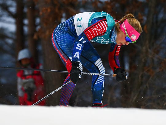 Ida Sargent (USA) competes in the cross country skiing