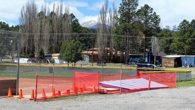 The wind blew over a dugout at the playing field next to Ruidoso Fire Station #2 on White Mountain Drive.