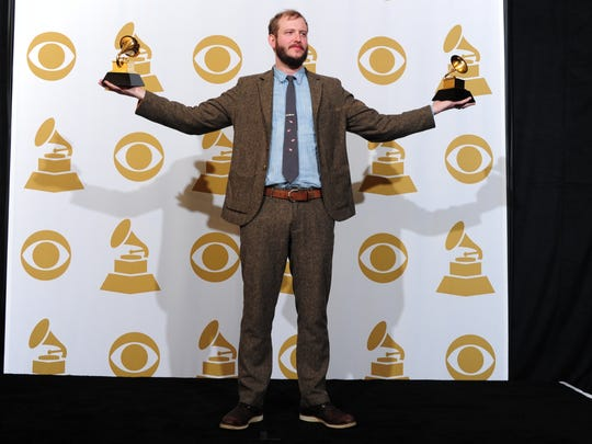 Justin Vernon poses with his two trophies at the Grammy Awards in 2012. Vernon's Bon Iver won the Grammys for Best New Artist and Best Alternative Music Album.