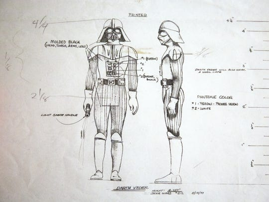 A pencil drawing of Darth Vader by Kenner Company artists.