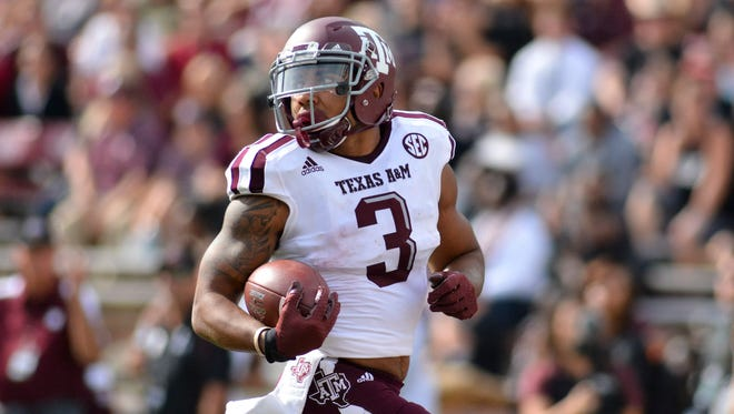 Texas A&M Aggies wide receiver Christian Kirk (3), who played high school football in Arizona, could be a very high NFL draft pick in 2018.