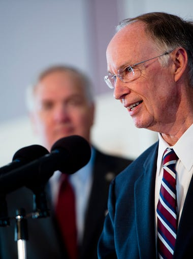Governor Robert Bentley announces the states settlement with BP over the 2010 oil spill in the Gulf of Mexico on Thursday, July 2, 2015, at the Capitol building in Montgomery, Ala. The state settled with BP for $2.3 billion, $1 billion for economic will be paid over 18 years and $1.3 billion environmental for costal Alabama.