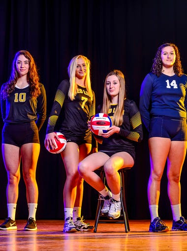 GameTimePA's first team all-star girls' volleyball player taken at West York High School. From left to right: Dallastown's Kat Forry, Delone Catholic's Claire Kaufmann, Red Lion's Lindsey Blevins, Red Lion's Logan Dontell, West York's Marisa Krinock and Central York's Emma Saxton.