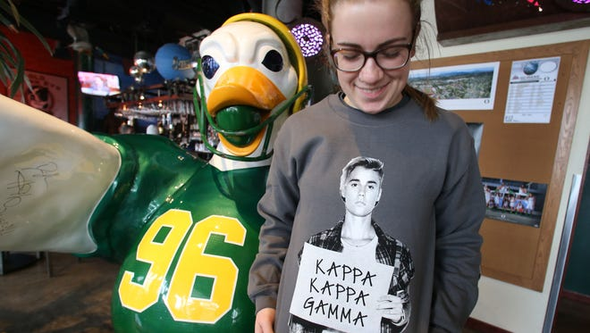 Oregon student Lena Jensen wore a Justin Bieber T-shirt Wednesday March 2, 2016, to celebrate rumor that he is visiting Eugene to rehearse at Matthew Knight Arena.