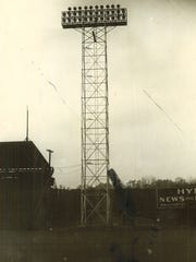 One of the six 96-foot towers that illuminated the
