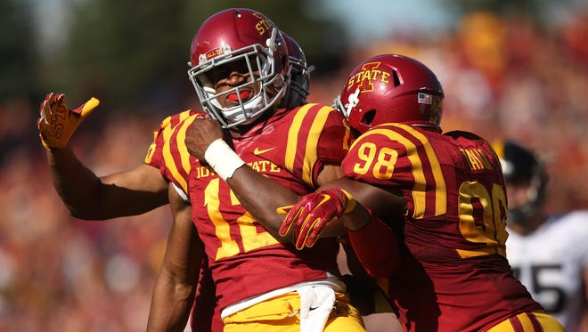 Iowa State linebacker Jay Jones celebrates after sacking Iowa quarterback CJ Beathard during the Cy-Hawk series on Saturday, Sept. 12, 2015, at Jack Trice Stadium in Ames, Iowa.