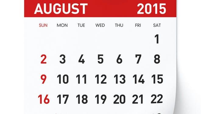 August 2015 - Calendar