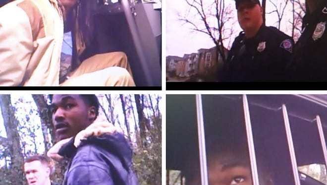 Screenshots from the body cam footage of the arrest from Greenville Police Department. Top right: Izeal Williams, top left, right person: Officer Allen Jacobs, bottom left and right: Deontea Macey