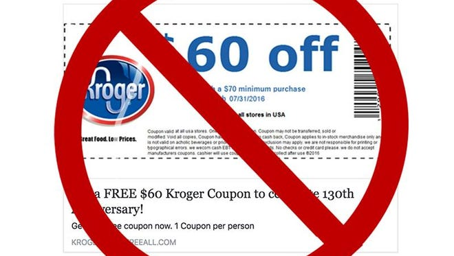 Don't click on a fake Facebook link offering a $60 voucher for free groceries at Kroger