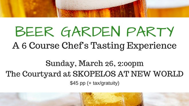 The Beer Garden Party is a six-course tasting experience at Skopelos March 26.